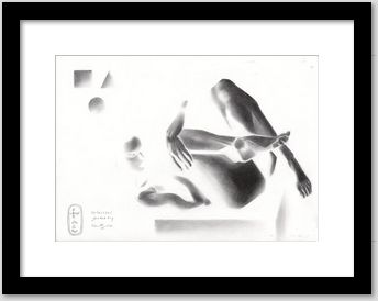 framing example of a solarized cubist nude graphite pencil drawing