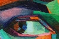 detail of a cubistic oil portrait of louise brooks