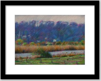 impressionisitic landscape colored pencil drawing framing example