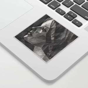 cubist portrait graphite pencil drawing sticker mockup