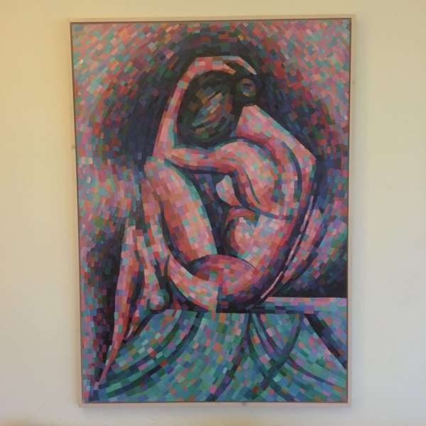 cubist nude oil painting framing example