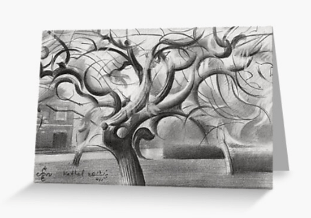 cubist treescape graphite pencil drawing greeting card mockup