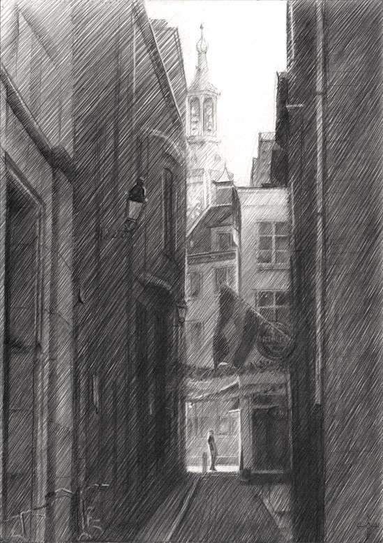 impressionist urban graphite pencil drawing