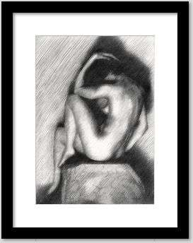 impressionist nude graphite pencil drawing framing example