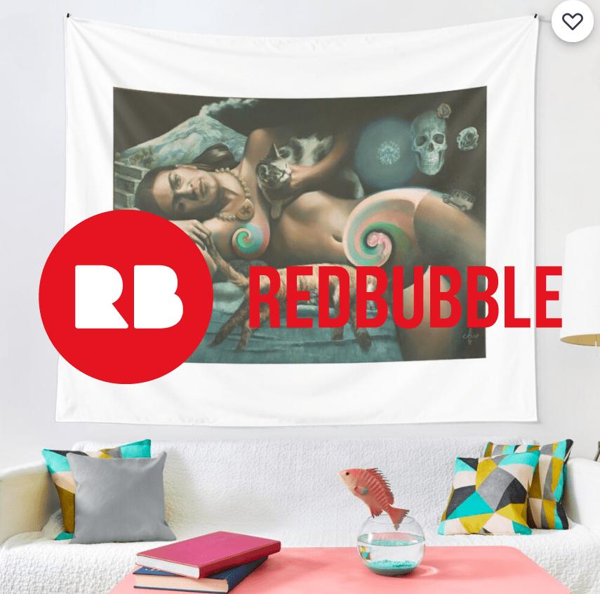 surrealist nude oil painting tapestry mockup