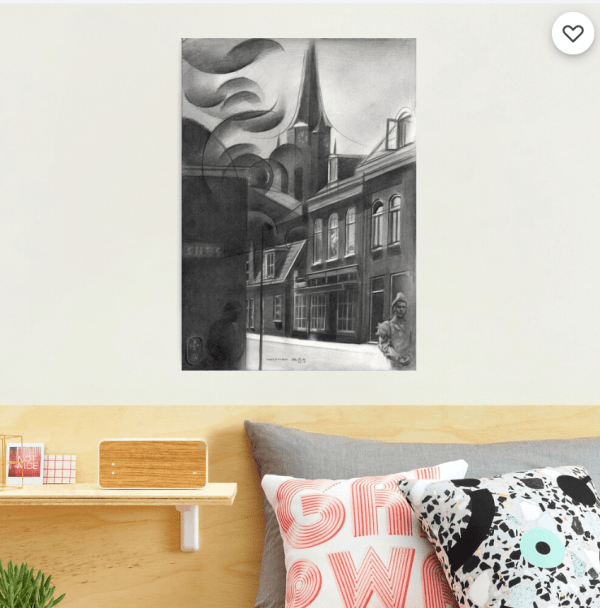 surrealist urban graphite pencil drawing photographic print mockup