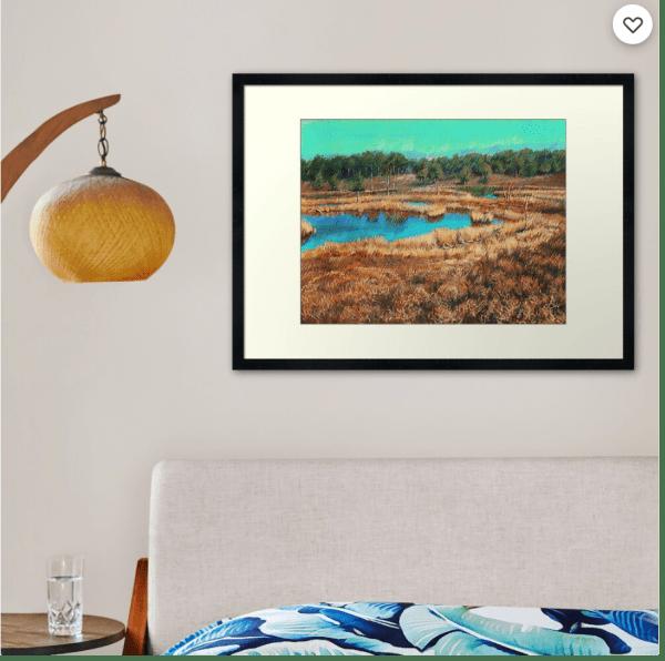 impressionist landscape pastel drawing framed print mockup