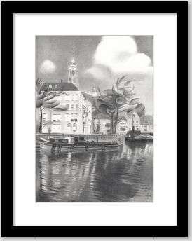 realistic cityscape graphite pencil drawing framing example