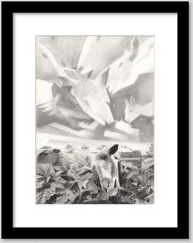 cubist sheep graphite pencil drawing framing example