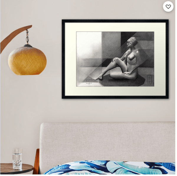 cubist nude graphite pencil drawing framed print mockup