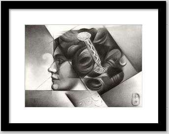 cubist lily elsie portrait graphite pencil drawing framing example