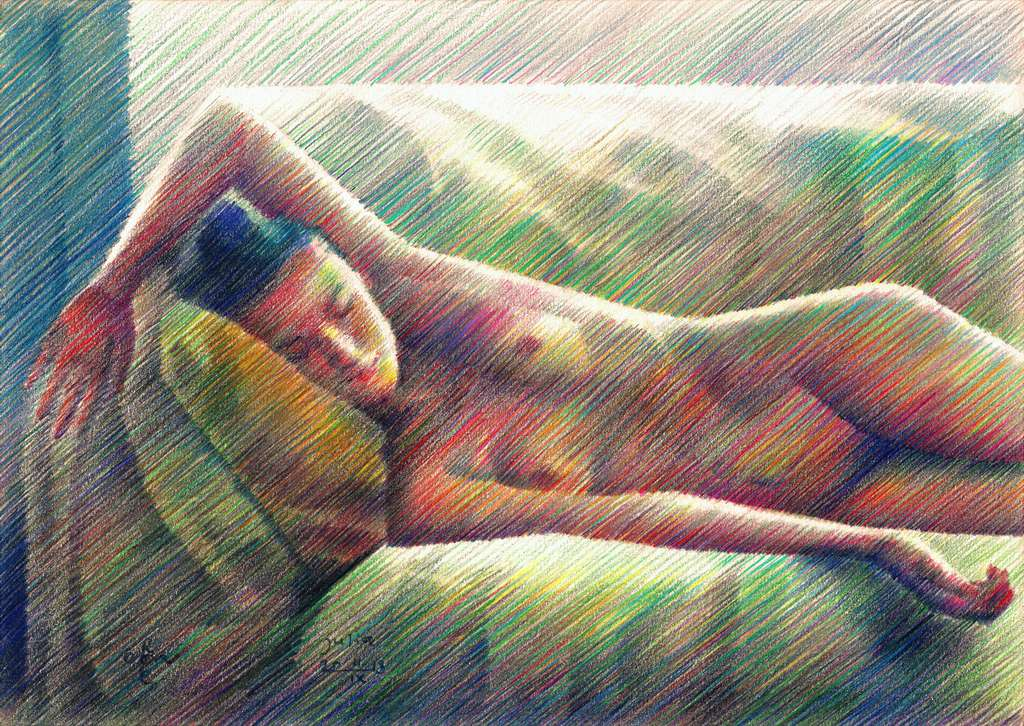 cubist nude colored pencil drawing
