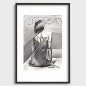 cubist nude graphite pencil drawing recessed art print mockup
