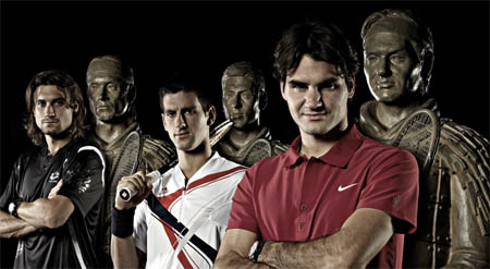 David Ferrer, Novak Djokovic, Roger Federer