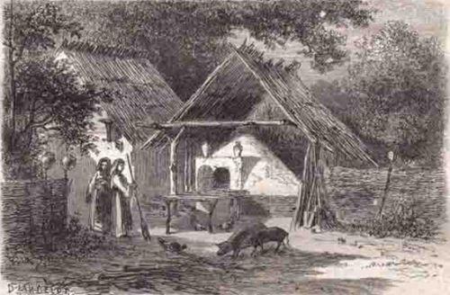 Cuptor țărănesc din Argeș, România, gravură după un desen de Lancelot