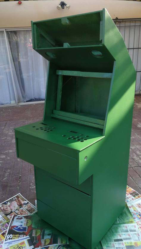 Arcade box painted green