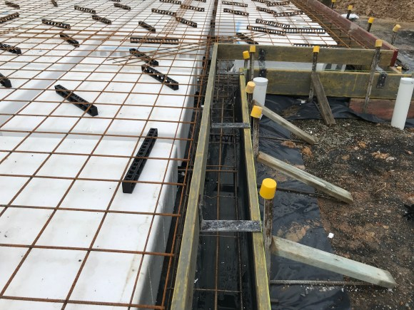 Waffle slab before pouring concrete