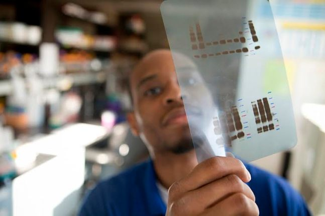 Michael-Paul Robinson, a graduate student in Chemical & Biomolecular Engineering, studies a slide in a lab in Olin Hall.