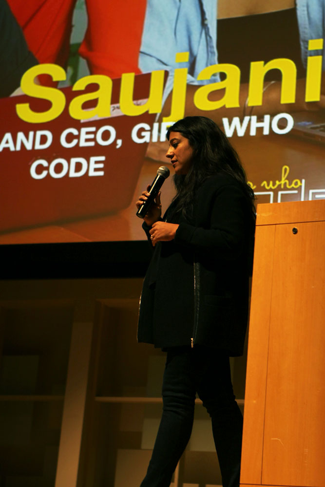 Reshma Saujani talks about the importance of women pursuing STEM careers in Statler Auditorium Wednesday.