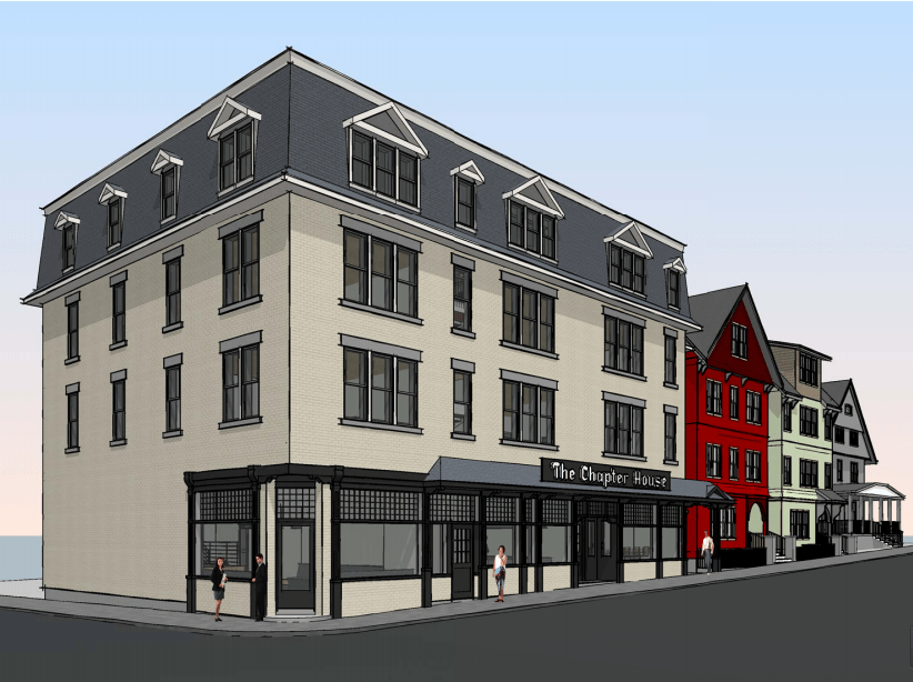 A rendering shows plans for a new Chapter House structure, which will connect to the upper floors of two adjacent houses to the north. (Courtesy of CSP Management)
