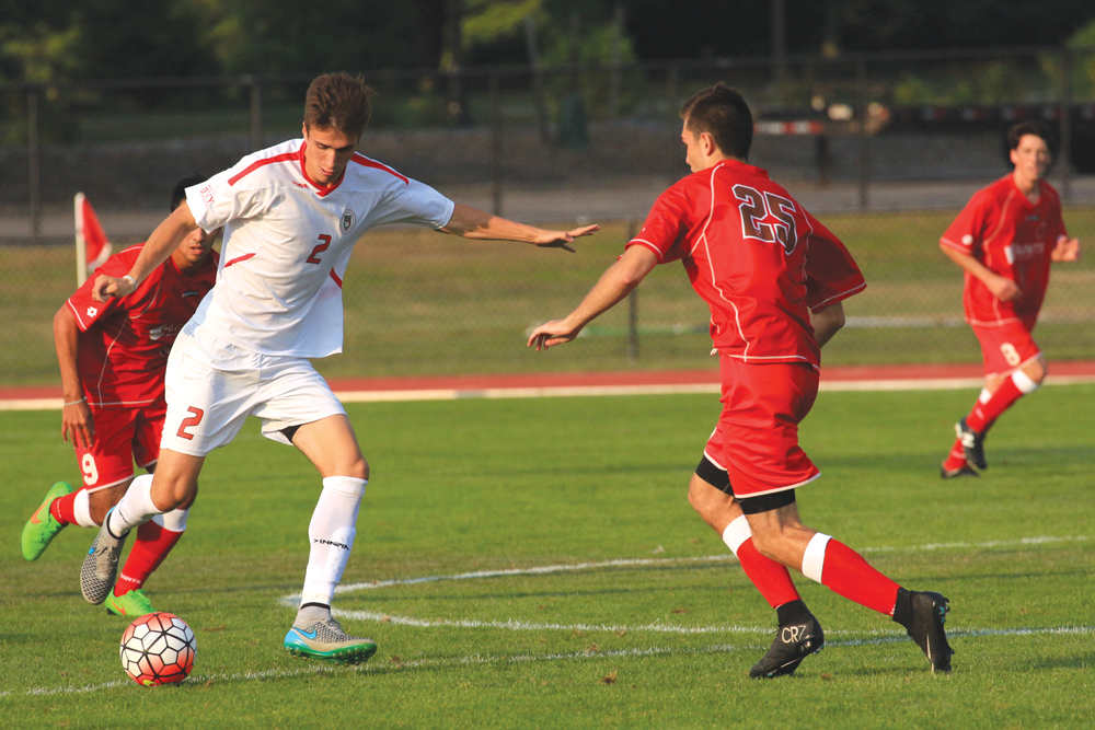 Dana Daniels / Sun Staff Photographer  Men's Soccer #2 Ryan Bayne vs St. Lawrence @Berman Field W [2-0]  Saturday August 29, 2015
