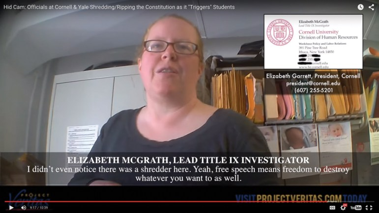 "In a Project Veritas video, Cornell Title IX investigator Elizabeth McGrath is shown shredding the Constitution after an undercover reporter posing as a student called it ""triggering."""