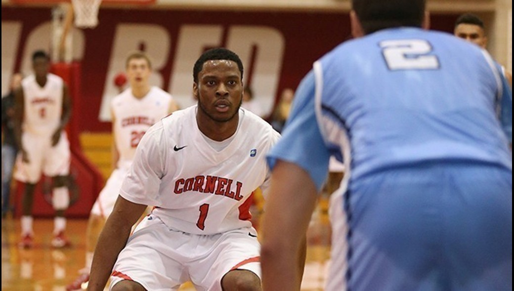 Darryl Smith, pictured above in a game against Columbia last season, scored 14 points against Colgate, but none were more timely than his 3-pointer that sent the game to its first overtime. (Courtesy of Cornell Athletics)