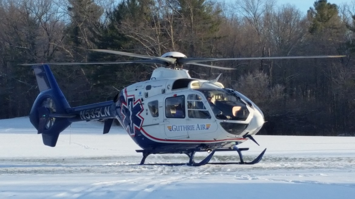 A Guthrie Air helicopter transported the male from Jessup Field to Robert Packer Hospital in Pennsylvania.