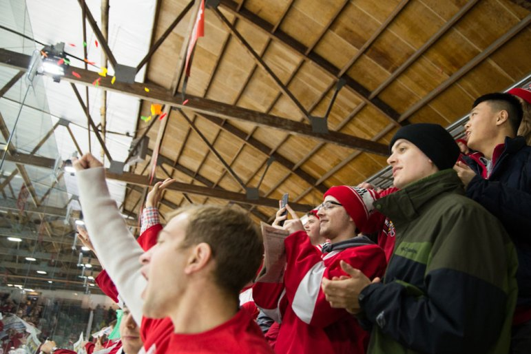 As per tradition, the Lynah Faithful tossed fish onto the ice before the game