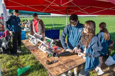 Cornell Rocketry Team members assemble the rocket at the competition last year in Huntsville, Alabama.
