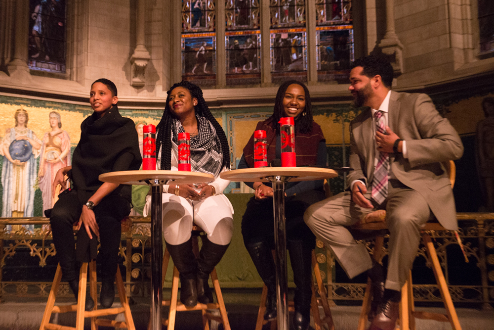 Black Lives Matter leaders Janaya Khan, Alicia Garza and Opal Tometi and Prof. Sean Eversley Bradwell, Ithaca College, spoke at the annual Martin Luther King Jr. Commemorative Lecture in Sage Chapel Wednesday evening.