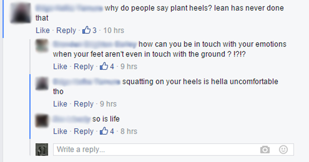 Comment on a heels-up squat photo on SADBOYS 2001.