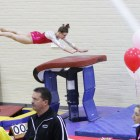 Senior Alicia Bair finished in second place at vault as Cornell lost to Bridgeport