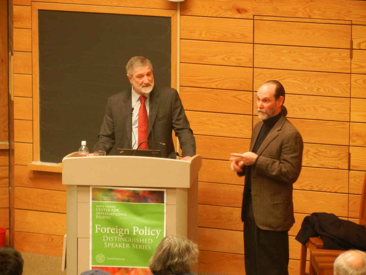 Nuclear taboo | Prof. Matthew Evangalista, government, introduces Dr. Ira Helfand before his lecture on the potential consequences of a nuclear war in Goldwin Smith on Monday.