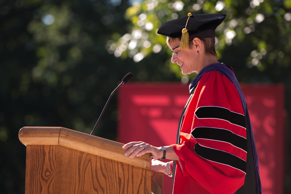 """As you set out for Ithaka, hope the voyage is a long one, full of adventure, full of discover,"" President Garrett said in her inauguration address."