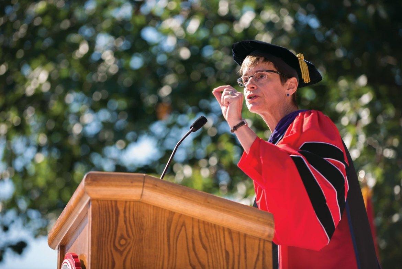 President Garrett speaks at her inauguration ceremony in September. She served as president for less than one year.