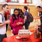 Students sample the various chili dishes prepared by head dining hall chefs at Cornell's 12th annual chili cook-off Thursday in Willard Straight Hall Memorial Room.