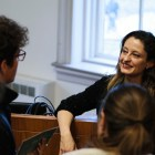 Safak Pavey, a prominent Turkish diplomat, discusses ways to integrateSyrian refugees into Turkish society at a talk in McGraw Hall Monday.
