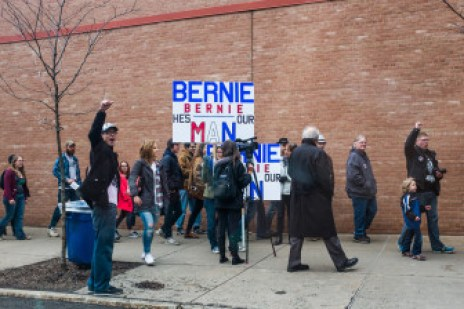 Supporters wait in line to enter the Oncenter in Syracuse to hear Sanders speak on Tuesday.