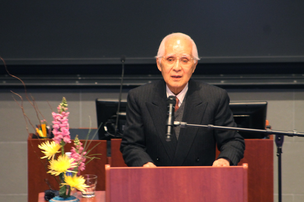 Justice Hisashi Owada discusses Japan's introduction to international relations in a Tuesday lecture.