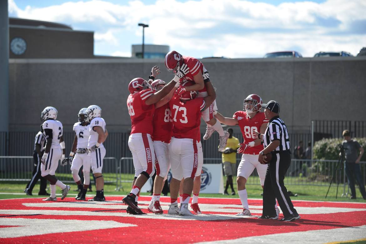 Senior receiver Marshall Deutz scored one of three touchdown on the day for the Red as Cornell downed Yale 27-10 on Homecoming.