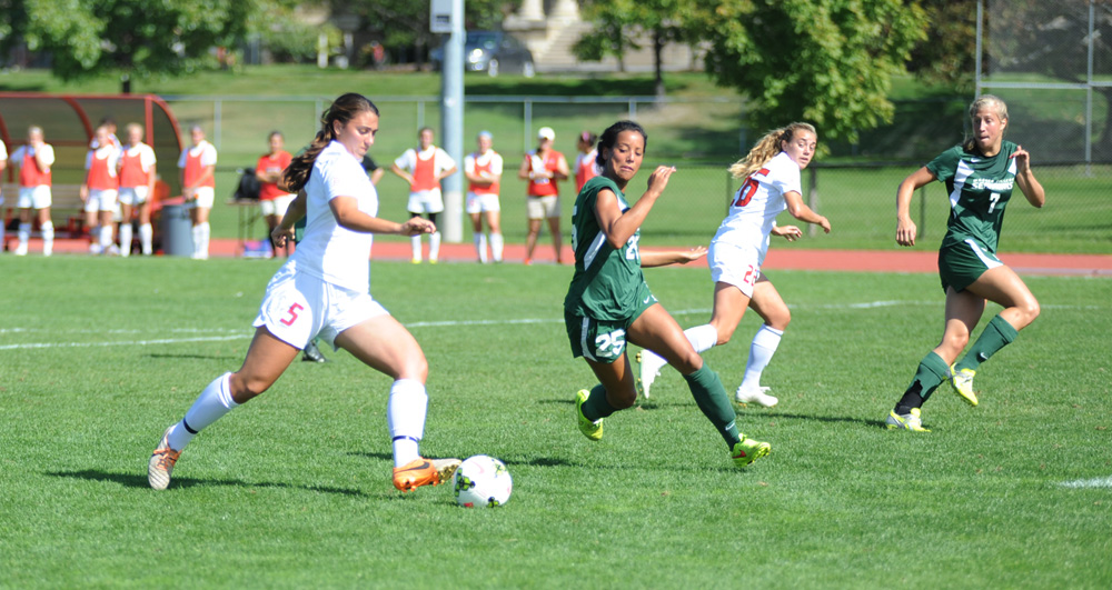 Unlike in its first two games of the season, the Red's play improved in the second half. when junior forward Tess Pullano scored her first goal of the season.
