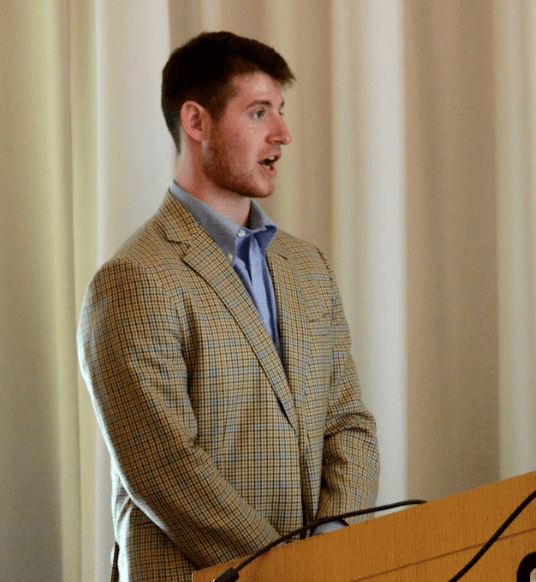 Gabriel Kaufman '18 discussed proposed plans for a peer-to-peer textbook marketplace at the University Assembly meeting Tuesday.