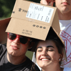 Students celebrate the 50th anniversary of Box Day.