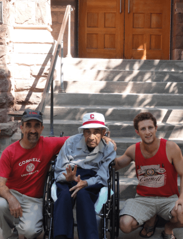 Andre Sofair '82, Meir Sofair '42 and Luke Sofair '19 in front of Lincoln Hall.