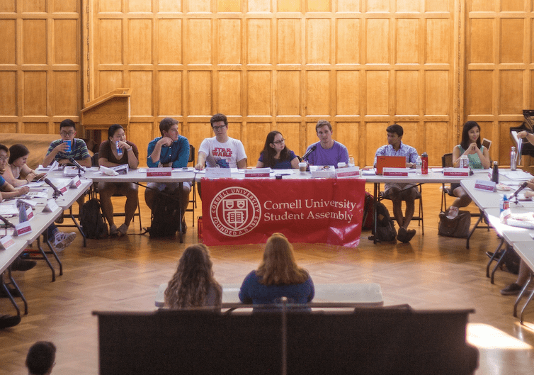 """Student Assembly (pictured at a September meeting) voted down a resolution on Thursday that was aimed at increasing faculty """"ideological diversity"""" at Cornell"""