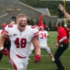 """Junior linebacker Kurt Frimel celebrating after """"the best win I've ever been a part of."""""""