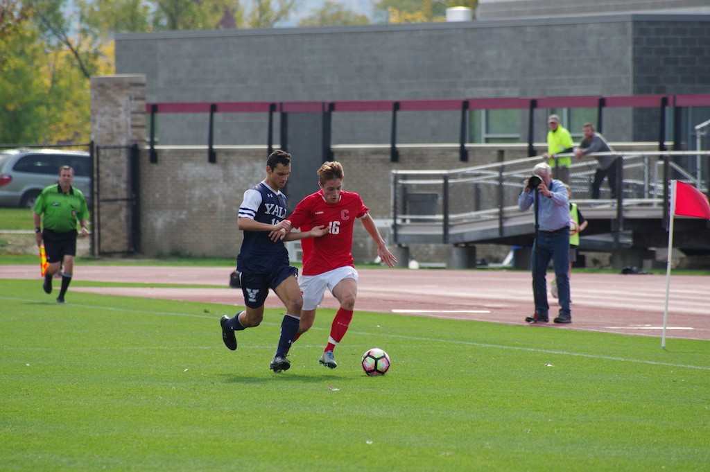 Both teams played a tight first half; freshman forward George Pedlow accounted for one of the Red's shots.