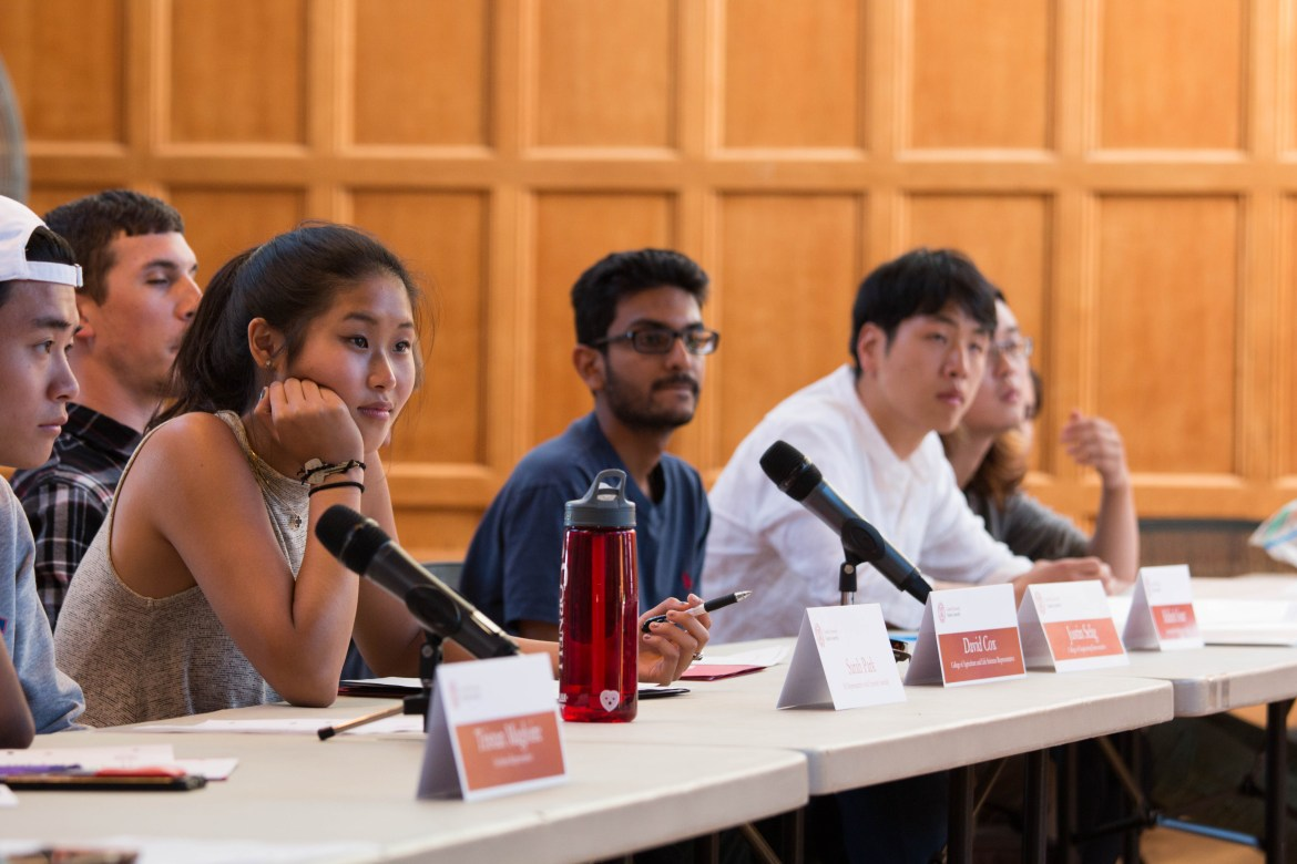 Student Assembly members amend a resolution to restructure the S.A. at Williard Stragiht Hall on Thursday.