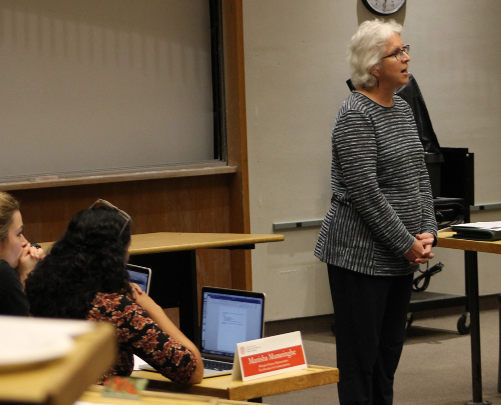 Barbara Knuth, senior vice provost and dean of the graduate school, addressed the graduate school's recent accomplishments in partnership with GPSA Monday.